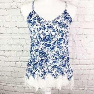 ANTHROPOLOGIE Boho blue & white floral cami S